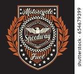 vintage motorcycle speedway... | Shutterstock .eps vector #654679399