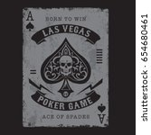 ace of spades poker typography  ... | Shutterstock .eps vector #654680461