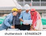 arabian businessman and... | Shutterstock . vector #654680629