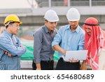 arabian businessman and... | Shutterstock . vector #654680689