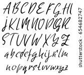 hand drawn dry brush font.... | Shutterstock .eps vector #654682747