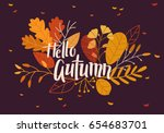 autumn background with leaves | Shutterstock .eps vector #654683701