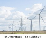 wind turbines and electricity... | Shutterstock . vector #654685594