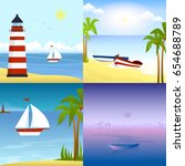 a boat on a tropical beach | Shutterstock .eps vector #654688789