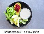 soy milk with vegetarian salad. | Shutterstock . vector #654691045
