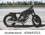 black vintage custom motorcycle ... | Shutterstock . vector #654692521