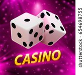 casino dice banner signboard on ... | Shutterstock .eps vector #654698755