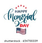 happy memorial day lettering.... | Shutterstock .eps vector #654700339