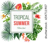 watercolor tropical background...   Shutterstock . vector #654711907