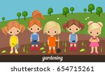 five lovely girls gardeners on... | Shutterstock .eps vector #654715261