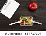 top view of natural salad with... | Shutterstock . vector #654717307