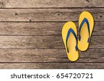 Flip Flops Isolated On Wooden...