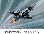 futuristic outer space battle... | Shutterstock .eps vector #654724717
