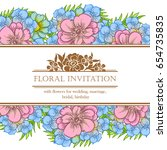 invitation with floral... | Shutterstock . vector #654735835