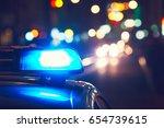 danger on the road. blue... | Shutterstock . vector #654739615