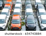 new cars on the car dealer... | Shutterstock . vector #654743884