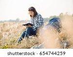 beautiful young asia woman... | Shutterstock . vector #654744259