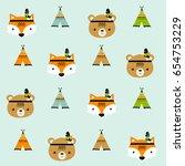 vector scandinavian pattern.... | Shutterstock .eps vector #654753229