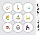 flat kid set of stroller ... | Shutterstock .eps vector #654754537