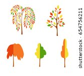 vector flat autumn trees on... | Shutterstock .eps vector #654756211