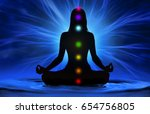 silhouette of woman doing yoga... | Shutterstock . vector #654756805