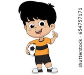 cartoon soccer kid  like pose ...   Shutterstock .eps vector #654757171