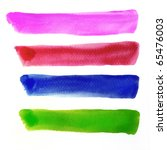 Colorful water color brush strokes - stock photo