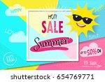summer sale discount banner... | Shutterstock .eps vector #654769771