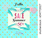 summer sale banner. sale vector ... | Shutterstock .eps vector #654772027