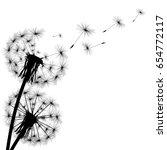 black silhouette of a dandelion ... | Shutterstock . vector #654772117