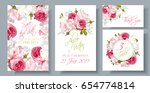 Stock vector vector wedding invitations set with garden roses and tulip flowers on white background can be used 654774814