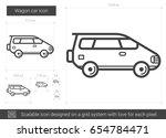 wagon car vector line icon... | Shutterstock .eps vector #654784471