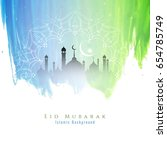 abstract colorful eid mubarak... | Shutterstock .eps vector #654785749