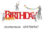 a sketch of little people with...   Shutterstock .eps vector #654786967