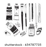 hand drawn art tools and... | Shutterstock .eps vector #654787735