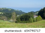meadow with sea view  basque... | Shutterstock . vector #654790717