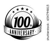 100 years anniversary design... | Shutterstock .eps vector #654794815