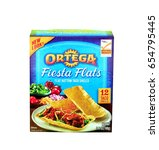 Small photo of KEY WEST, FL-APRIL 27: illustrative editorial image of a box of 12 Ortega Fiesta Flats Flat Bottom Taco Shells in Key West, Florida on April 27, 2015.