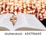 closeup of the wooden cross on... | Shutterstock . vector #654796645