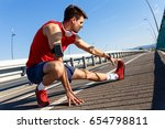 portrait of young athlete man... | Shutterstock . vector #654798811