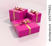 3d render  three gft boxes with ... | Shutterstock . vector #654799831