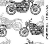 motorcycle seamless pattern ... | Shutterstock .eps vector #654800521