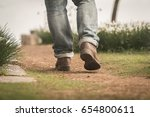 a man wear leather shoes...   Shutterstock . vector #654800611