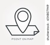 line icon point on map | Shutterstock .eps vector #654807949