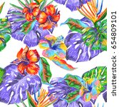 floral pattern repeat tropic... | Shutterstock . vector #654809101