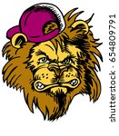 mascot lion head  proud and... | Shutterstock .eps vector #654809791