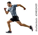 One Caucasian Man Runner Jogge...