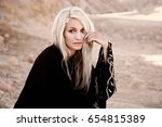 woman with blond hair and... | Shutterstock . vector #654815389