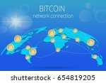 digital bitcoin. golden coin... | Shutterstock .eps vector #654819205