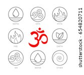 ayurveda icons set  thin vector ... | Shutterstock .eps vector #654820711